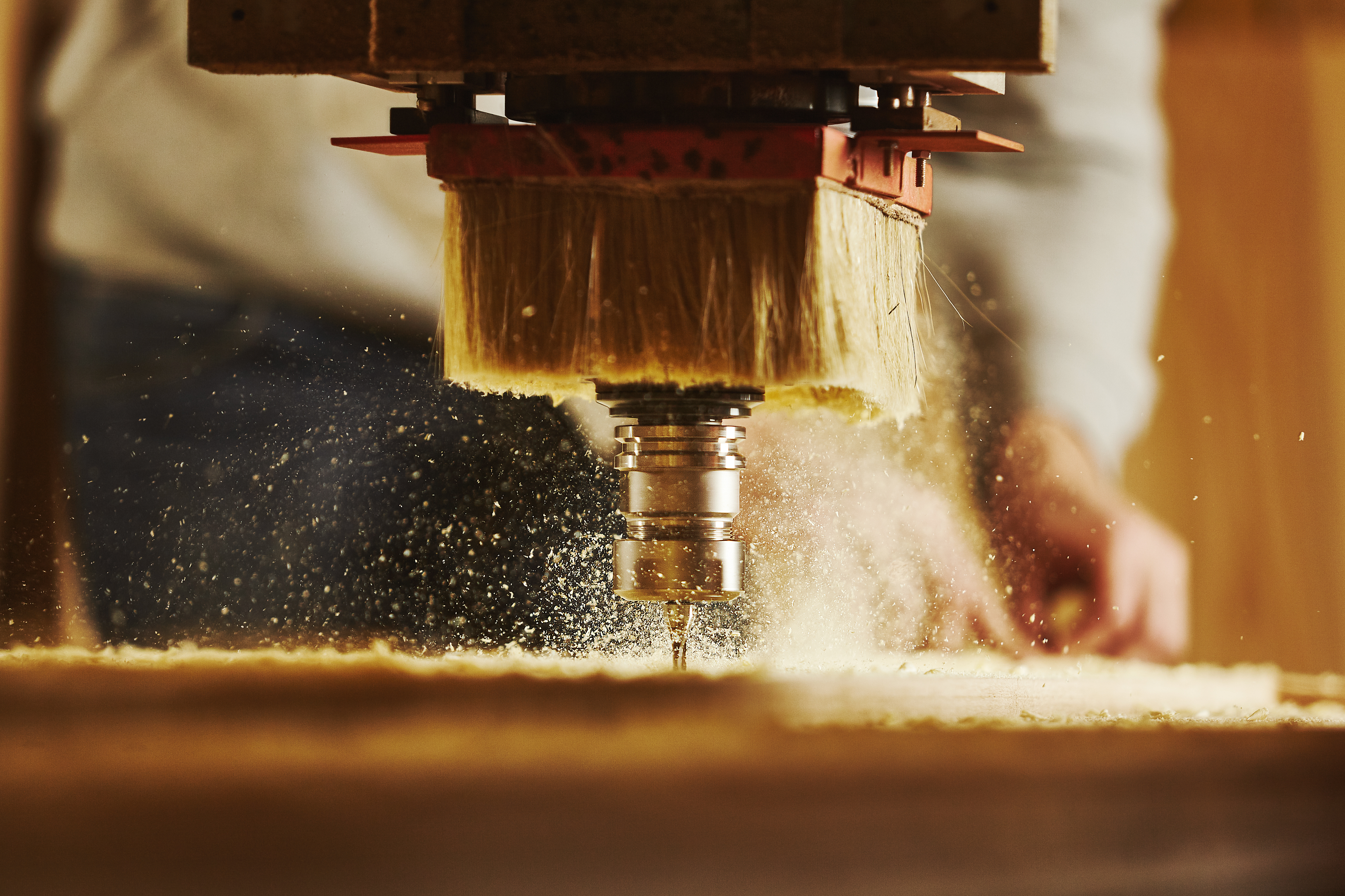 Cnc machine working, cutting wood. Woodwork industry